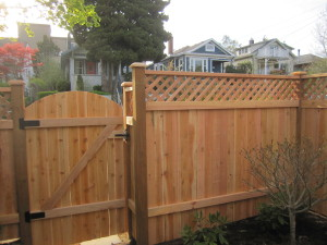"""Dome Top Cedar Fence and Gate """"Back Side"""""""