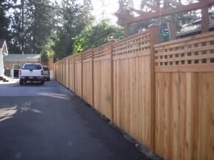 Cedar Fence attached to Concrete