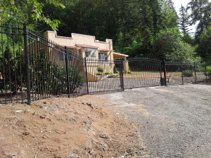 Iron Arched Gate with Iron Fence