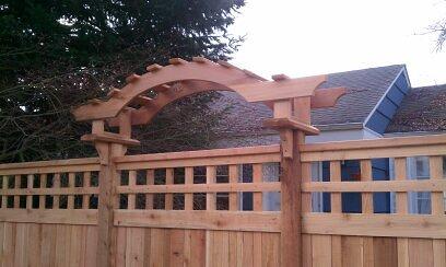 Cedar Fence with Venetian Arbor